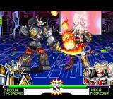 Mighty Morphin Power Rangers: The Fighting Edition SNES Shogun Megazord starts a sword-flaming counterattack against Mega Tigerzord: and it was successful!