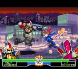 Mighty Morphin Power Rangers: The Fighting Edition SNES Lipsyncher dashes forward to hit-attack Ninja Megazord, but his dashing punch is about to stop her!