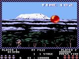 Pang Amstrad CPC Up against a big balloon near Mt. Fuji