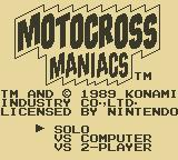 Motocross Maniacs Game Boy Title Screen
