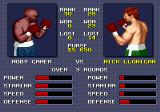 "Evander Holyfield's ""Real Deal"" Boxing Genesis Adversary selection screen. You can choose to fight with adversaries up to 2 positions above you in the ranking."