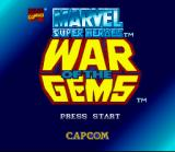 Marvel Super Heroes in War of the Gems SNES Title screen