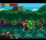 Marvel Super Heroes in War of the Gems SNES Hulk fighting evil She Hulk doubles in the Amazon