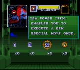 Marvel Super Heroes in War of the Gems SNES Select your item before a mission