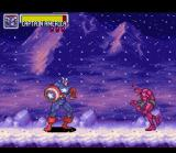 Marvel Super Heroes in War of the Gems SNES The Cap vs a demonic copy of The Man Without Fear