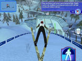 Ski Jumping 2004 Windows Tutorial screen that freezes you in mid jump and explains what you're supposed to do next