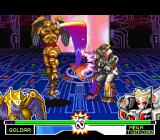 Mighty Morphin Power Rangers: The Fighting Edition SNES Goldar ground-striking Mega Tigerzord through the long range of his anti-air move Sword Uppercut.