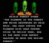 Zen: Intergalactic Ninja NES Mission briefing for acidic forest