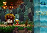 Keio Flying Squadron 2 SEGA Saturn A wooden log bridge behind the waterfall in the first level, and you are an exaggerated character that can run real fast, but instead of the golden rings you collect golden rabbits...