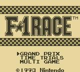 F-1 Race Game Boy Title Screen