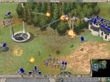 Empire Earth Windows ...and hover helicopters attack a nano age settlement.