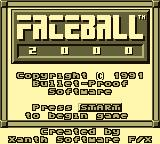 Faceball 2000 Game Boy Title Screen