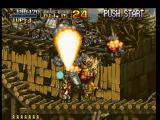 Metal Slug: Super Vehicle - 001 PlayStation Threatened by Rail Tank's shot, Marco Rossi finds some free space to counterattack with the Shotgun.