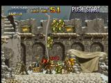 Metal Slug: Super Vehicle - 001 PlayStation Some soldiers are about to surround Marco, and Marco is about to kill one of them using his knife...