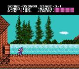 Ninja Gaiden NES Starting out in stage 3-1 against a pleasant lake and forest backdrop