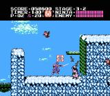 Ninja Gaiden NES Stage 3-2: Ryu makes it into snowy mountains