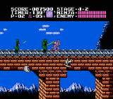Ninja Gaiden NES Continue along the rail tracks to make it into the tower