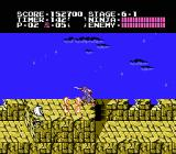 Ninja Gaiden NES Cruising along the top of the tower in stage 6-1