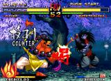 "Samurai Shodown V Neo Geo Rasetsumaru tries to run-attack Kafuin Gaira, but he is suddenly hit-stopped by his move ""Katsu!""."