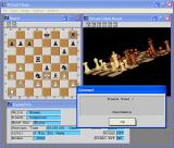 Virtual Chess Windows The 2D board, the 3D board at an odd angle, the status window, and a dialog informing that black wins