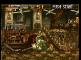 Metal Slug: Super Vehicle - 001 PlayStation Two enemy soldiers jumped into Metal Slug and one of them are trying to destroy its shooting part.