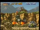 Metal Slug: Super Vehicle - 001 PlayStation Metal Slug tries to avoid, but its attempt to escape of some enemy tank shots failed for a bit...