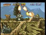 Metal Slug: Super Vehicle - 001 PlayStation While Metal Slug attacks the front of a spike tank, some tele-guided missiles are about to hit it...