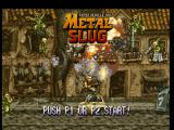 Metal Slug: Super Vehicle - 001 PlayStation Demonstration view: jumping of a car, Marco Rossi destroys an enemy front with the Rocket Launcher.