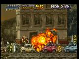 Metal Slug: Super Vehicle - 001 PlayStation With an accurate use of the Flame Shot weapon, Marco Rossi kills some soldiers on top of some cars.