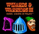 Wizards & Warriors III: Kuros - Visions of Power NES Title screen featuring the 3 different player classes: wizard, knight, and thief