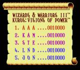 Wizards & Warriors III: Kuros - Visions of Power NES The high score screen