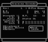 Wizardry: Legacy of Llylgamyn - The Third Scenario NES Character stats