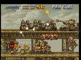 Metal Slug: Super Vehicle - 001 PlayStation Surrounded by a tank and many soldiers on motorcycles, Marco Rossi waits the best chance to shoot.