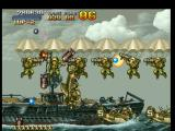 Metal Slug: Super Vehicle - 001 PlayStation Besides continuing to shoot with the machine-gun, Marco jumps off to escape some falling missiles.