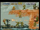 Metal Slug: Super Vehicle - 001 PlayStation A big platform are blocking Marco Rossi's crossing: he starts to use the machine-gun to demolish it!