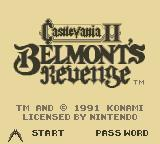 Castlevania II: Belmont's Revenge Game Boy Title Screen