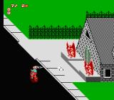Paperboy 2 NES A strange house with two gargoyles shooting at me. I shoot right back