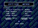 "Cyber Sled PlayStation The option menu. Please note the ""Game graphics"" option."