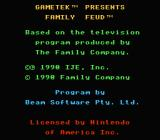Family Feud NES Copyright screen