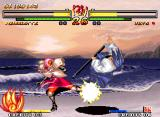 Samurai Shodown V Neo Geo Through the impact caused by a sweep, Charlotte hit-stops Ukyo Tachibana's probable counterattack...