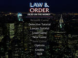 Law & Order: Dead on the Money Windows Main menu