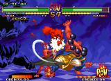 Samurai Shodown V Special Neo Geo Kafuin Gaira trying to attack Mina Majikina: he's suddenly hit-stopped by her closing-bow attack...