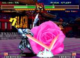 Samurai Shodown V Special Neo Geo Charlotte getting the best moment to hit-attack Tam Tam through her super move Splash Gradation...