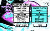Wordtris DOS Main menu (CGA)
