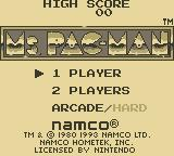 Ms. Pac-Man Game Boy Title Screen