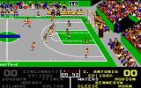 Omni-Play Basketball DOS The side view gameplay screen (Tandy)