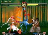 Samurai Shodown V Neo Geo Mina Majikina attacking a defensive Yagyu Jubei through her multi-projectile-based move Jikyuu Shin.