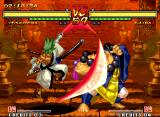 Samurai Shodown V Neo Geo And Kafuin Gaira is about to be hit-damaged by Yoshitora Tokugawa's air move San no Tachi: Botan...