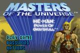 Masters of the Universe: He-Man - Power of Grayskull Game Boy Advance Title screen / Main menu.
