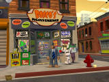 Sam & Max Episode 3: The Mole, the Mob, and the Meatball Windows Outside Bosco's store, with a mafia member eavesdropping.